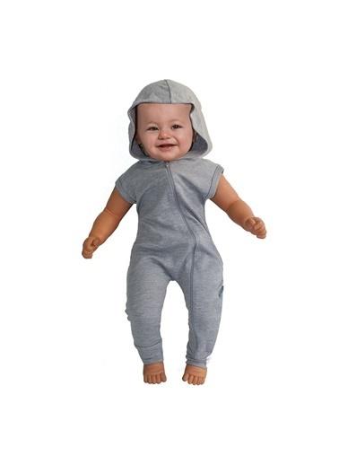 By Bebek Odam Sade Fermuarlı Kapşonlu Askılı Bebek Tulum Gri